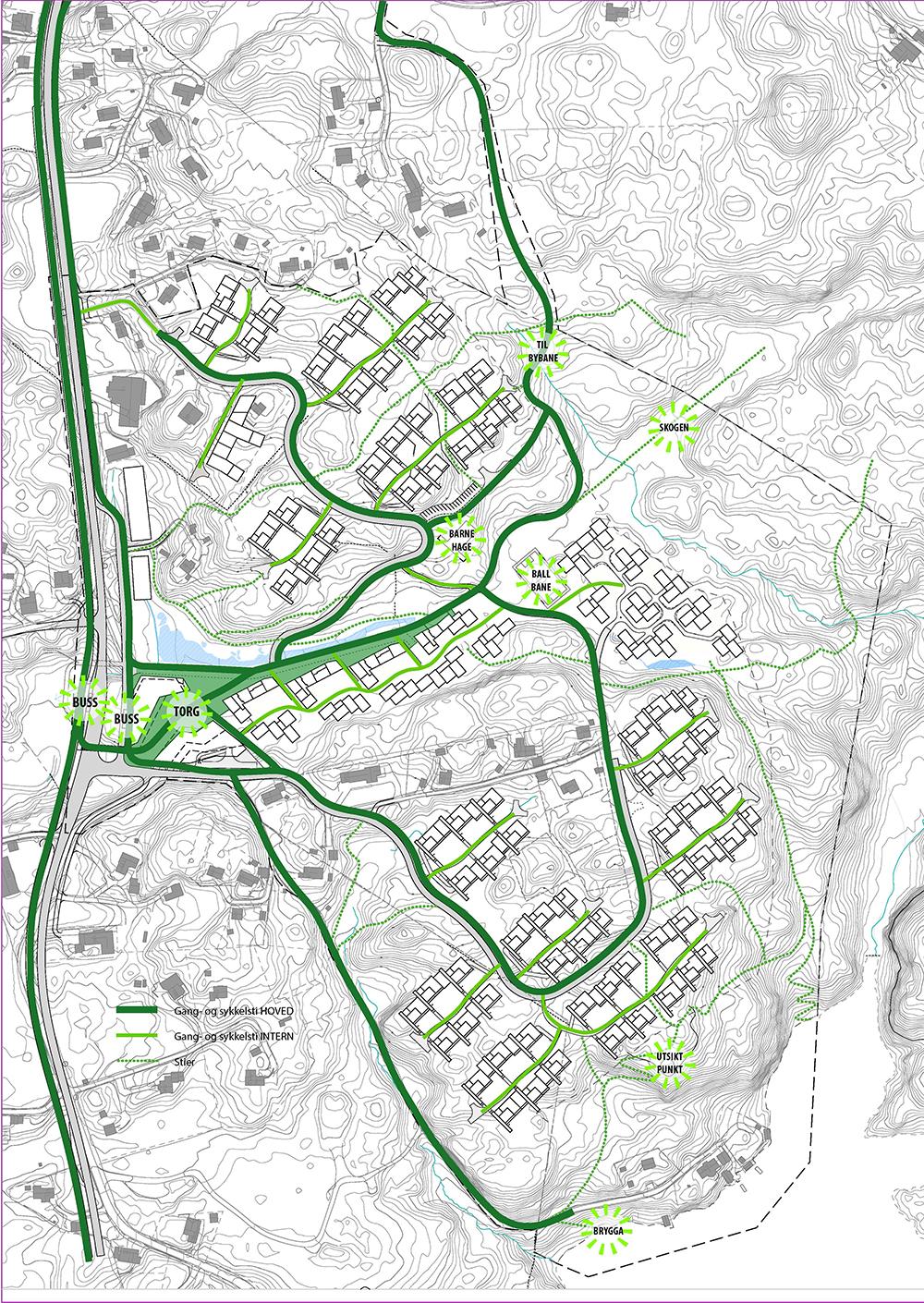 Kart med sykkel og gangvei