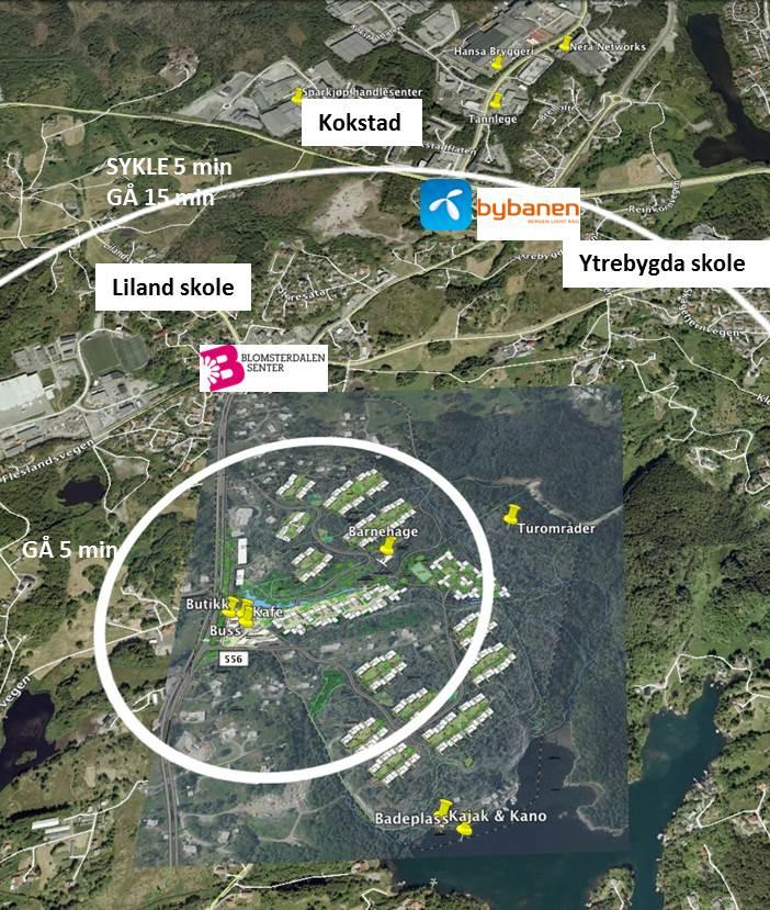 Zero Village Bergen i forhold til sentrale knutepunkt
